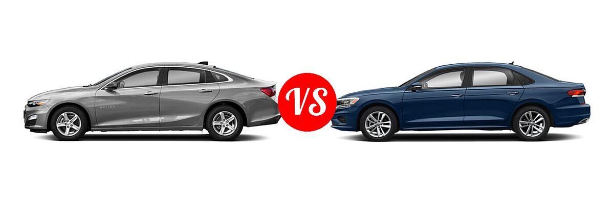 2021 Chevrolet Malibu Sedan L vs. 2021 Volkswagen Passat Sedan 2.0T R-Line - Side Comparison