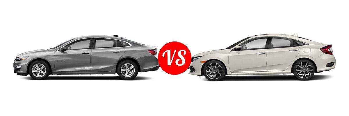2021 Chevrolet Malibu Sedan L vs. 2021 Honda Civic Sedan Touring - Side Comparison