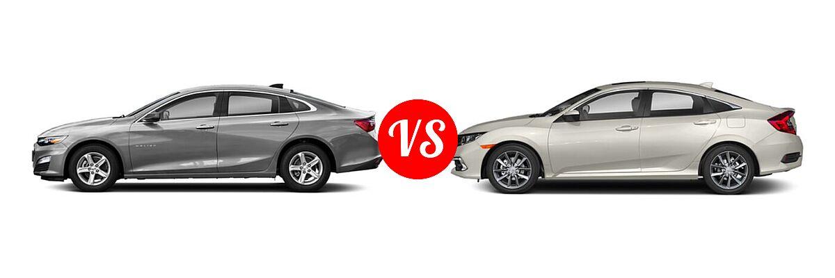2021 Chevrolet Malibu Sedan L vs. 2021 Honda Civic Sedan EX - Side Comparison