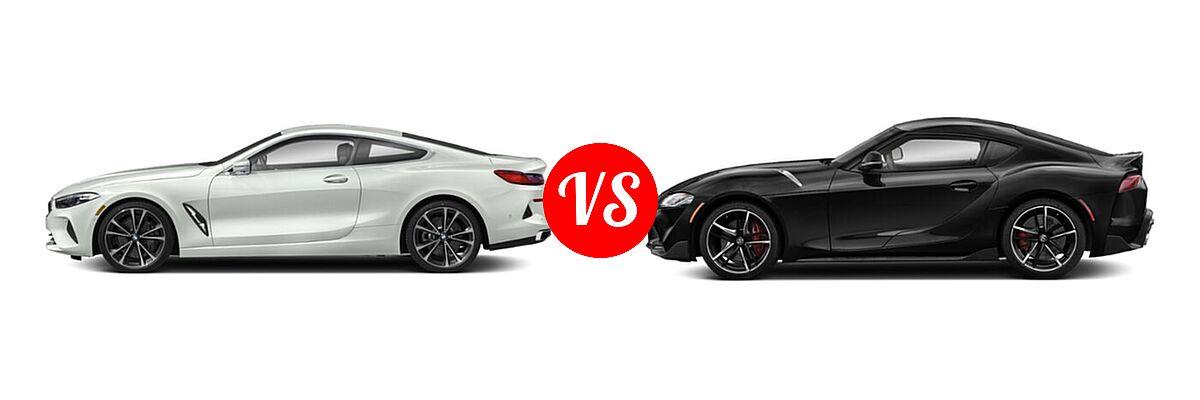 2021 BMW 8 Series Coupe 840i vs. 2021 Toyota GR Supra Coupe 2.0 / 3.0 / 3.0 Premium / A91 Edition - Side Comparison