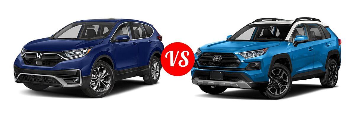 2020 Honda CR-V SUV EX vs. 2020 Toyota RAV4 SUV Adventure - Front Left Comparison