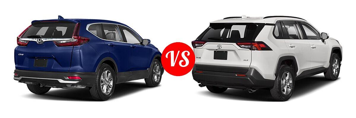 2020 Honda CR-V SUV EX vs. 2020 Toyota RAV4 SUV XLE / XLE Premium - Rear Right Comparison