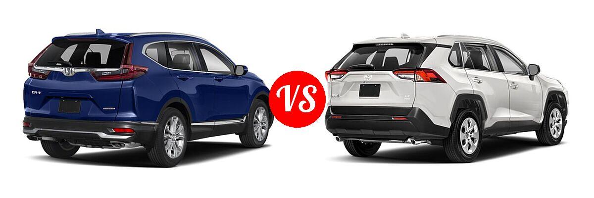 2020 Honda CR-V SUV Touring vs. 2020 Toyota RAV4 SUV LE - Rear Right Comparison