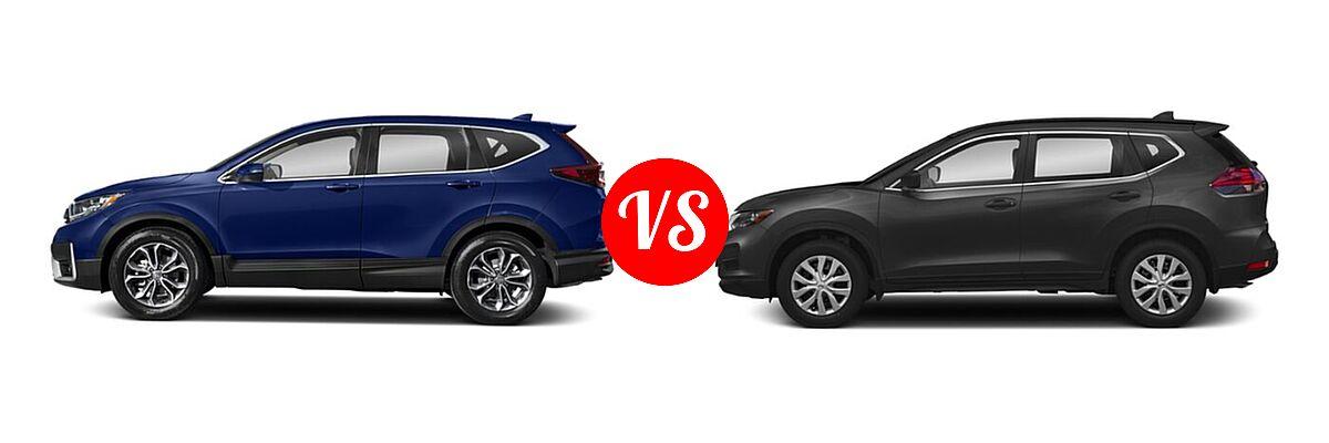 2020 Honda CR-V SUV EX vs. 2020 Nissan Rogue SUV S / SV - Side Comparison