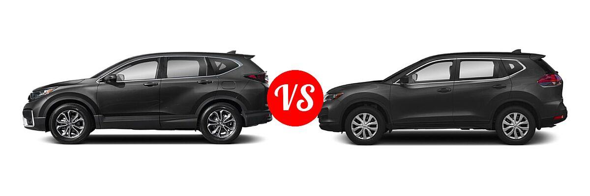 2020 Honda CR-V SUV EX-L vs. 2020 Nissan Rogue SUV S / SV - Side Comparison