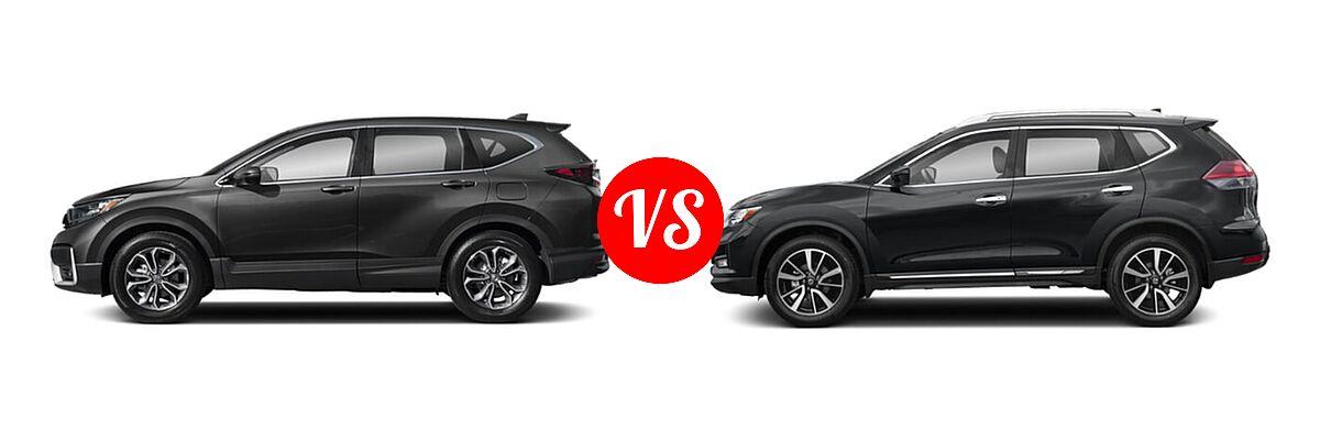 2020 Honda CR-V SUV EX-L vs. 2020 Nissan Rogue SUV SL - Side Comparison