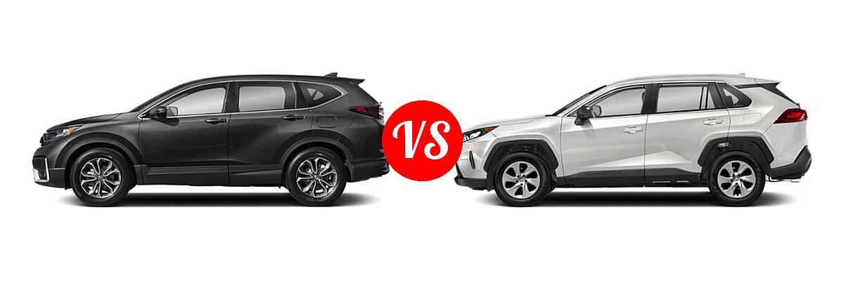 2020 Honda CR-V SUV EX-L vs. 2020 Toyota RAV4 SUV LE - Side Comparison