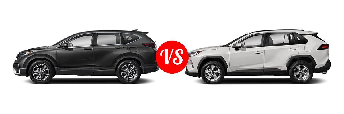 2020 Honda CR-V SUV EX-L vs. 2020 Toyota RAV4 SUV XLE / XLE Premium - Side Comparison