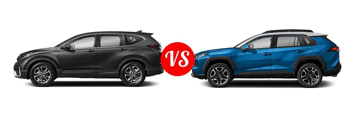2020 Honda CR-V SUV EX-L vs. 2020 Toyota RAV4 SUV Adventure - Side Comparison