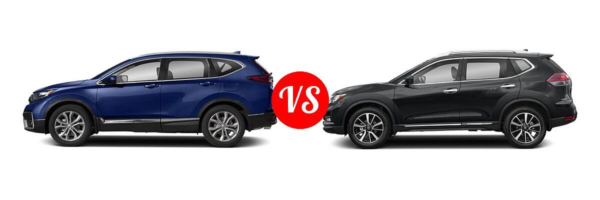 2020 Honda CR-V SUV Touring vs. 2020 Nissan Rogue SUV SL - Side Comparison