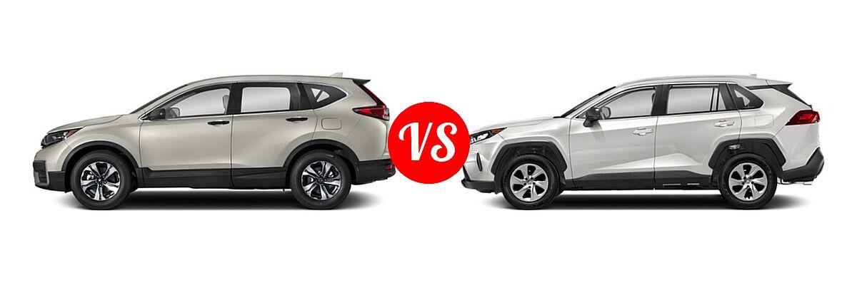 2020 Honda CR-V SUV LX vs. 2020 Toyota RAV4 SUV LE - Side Comparison