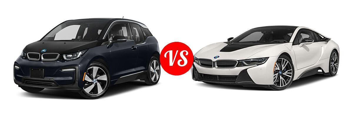 2020 BMW i3 Hatchback PHEV 120 Ah / 120 Ah w/Range Extender / s vs. 2019 BMW i8 Coupe PHEV Coupe - Front Left Comparison
