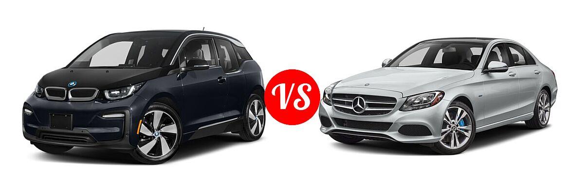 2020 BMW i3 Hatchback PHEV 120 Ah / 120 Ah w/Range Extender / s vs. 2018 Mercedes-Benz C-Class Sedan Hybrid C 350e - Front Left Comparison