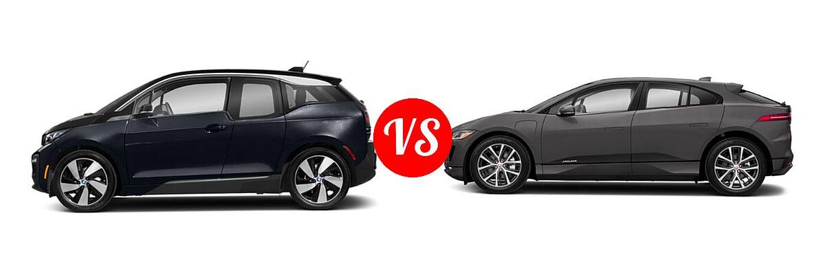2020 BMW i3 Hatchback PHEV 120 Ah / 120 Ah w/Range Extender / s vs. 2019 Jaguar I-PACE SUV Electric First Edition / HSE / S / SE - Side Comparison