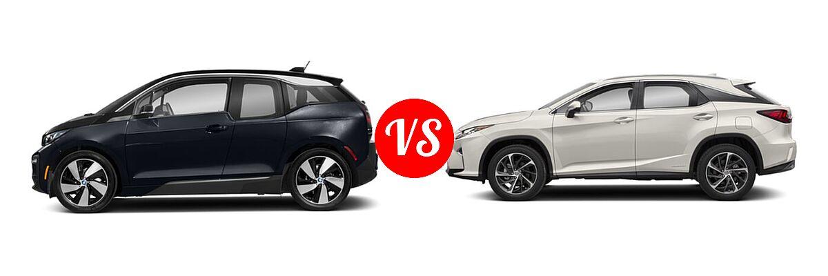 2020 BMW i3 Hatchback PHEV 120 Ah / 120 Ah w/Range Extender / s vs. 2018 Lexus RX 450h SUV RX 450h - Side Comparison