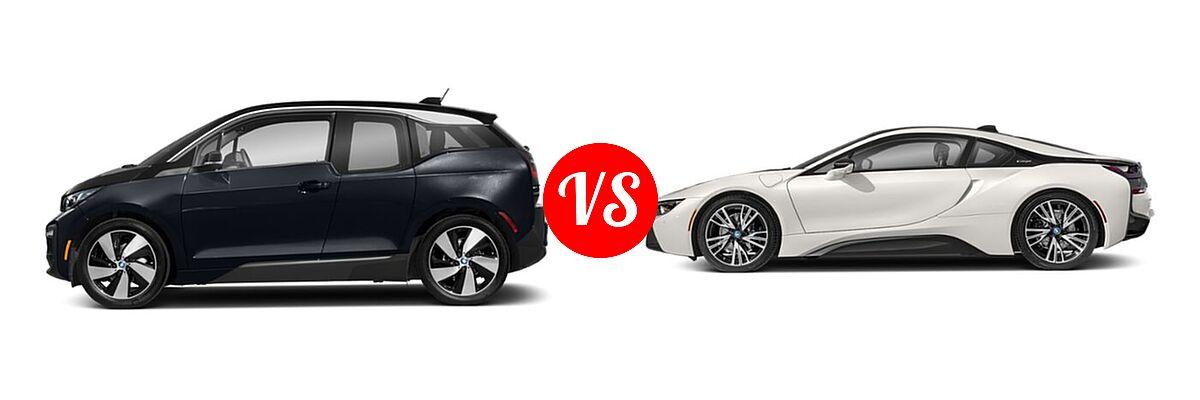 2020 BMW i3 Hatchback PHEV 120 Ah / 120 Ah w/Range Extender / s vs. 2019 BMW i8 Coupe PHEV Coupe - Side Comparison