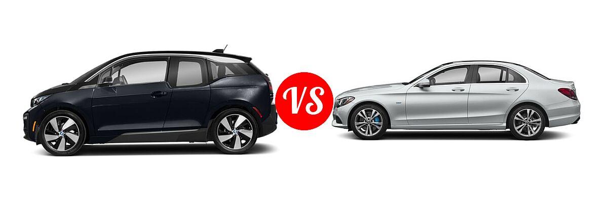 2020 BMW i3 Hatchback PHEV 120 Ah / 120 Ah w/Range Extender / s vs. 2018 Mercedes-Benz C-Class Sedan Hybrid C 350e - Side Comparison