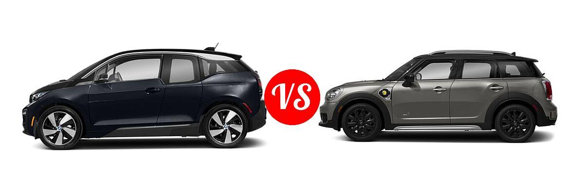 2020 BMW i3 Hatchback PHEV 120 Ah / 120 Ah w/Range Extender / s vs. 2018 MINI Countryman Wagon Hybrid Cooper S E - Side Comparison