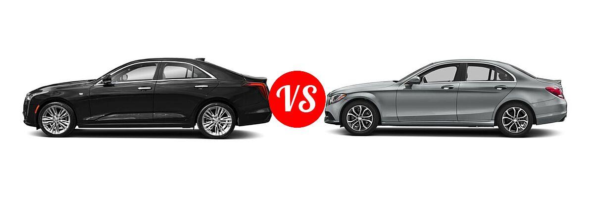 2020 Cadillac CT4 Sedan Luxury / Premium Luxury / Sport / V-Series vs. 2018 Mercedes-Benz C-Class Sedan C 300 - Side Comparison