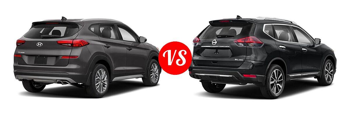 2020 Hyundai Tucson SUV SEL vs. 2020 Nissan Rogue SUV SL - Rear Right Comparison