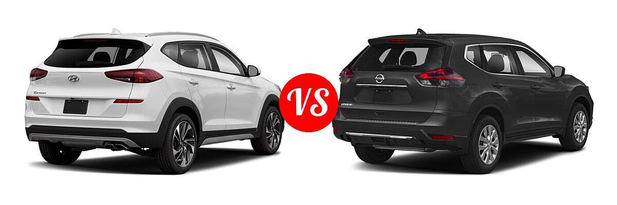 2020 Hyundai Tucson SUV Sport vs. 2020 Nissan Rogue SUV S / SV - Rear Right Comparison
