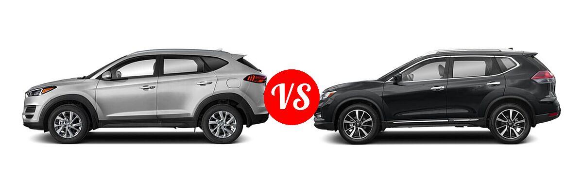 2020 Hyundai Tucson SUV SE / Value vs. 2020 Nissan Rogue SUV SL - Side Comparison