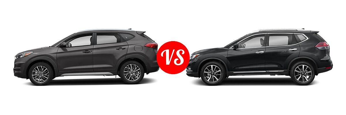 2020 Hyundai Tucson SUV SEL vs. 2020 Nissan Rogue SUV SL - Side Comparison