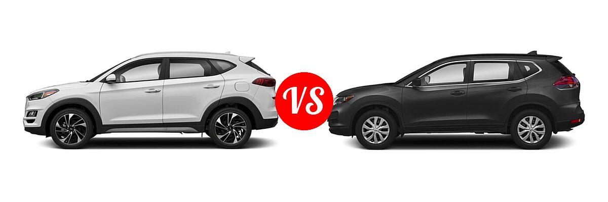 2020 Hyundai Tucson SUV Sport vs. 2020 Nissan Rogue SUV S / SV - Side Comparison