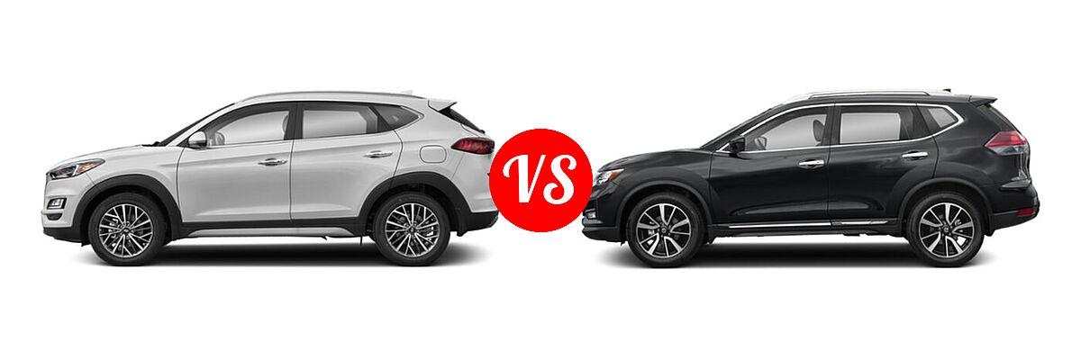 2020 Hyundai Tucson SUV Limited vs. 2020 Nissan Rogue SUV SL - Side Comparison