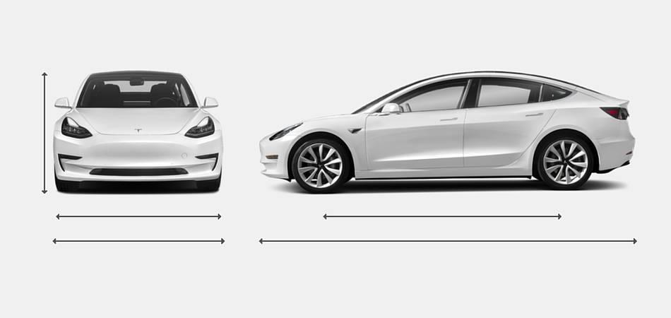 2019 Tesla Model 3 Exterior Dimensions