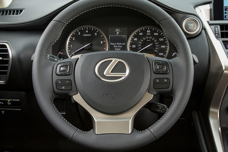 Lexus NX 200t 4dr SUV Steering Wheel Detail (2015 model year shown)