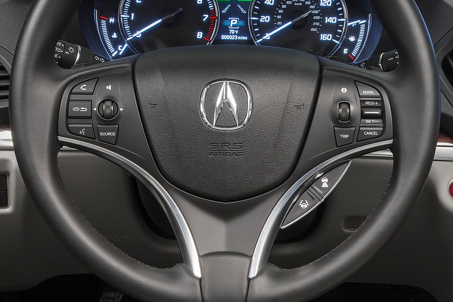 2016 Acura MDX SH-AWD w/Technology, Entertainment and AcuraWatch Plus Packages 4dr SUV Steering Wheel Detail