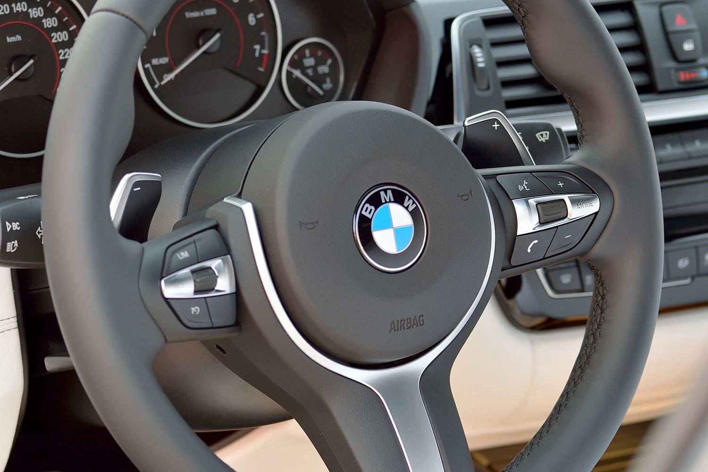 BMW 3 Series 340i Sedan Steering Wheel Detail (2016 model year shown)