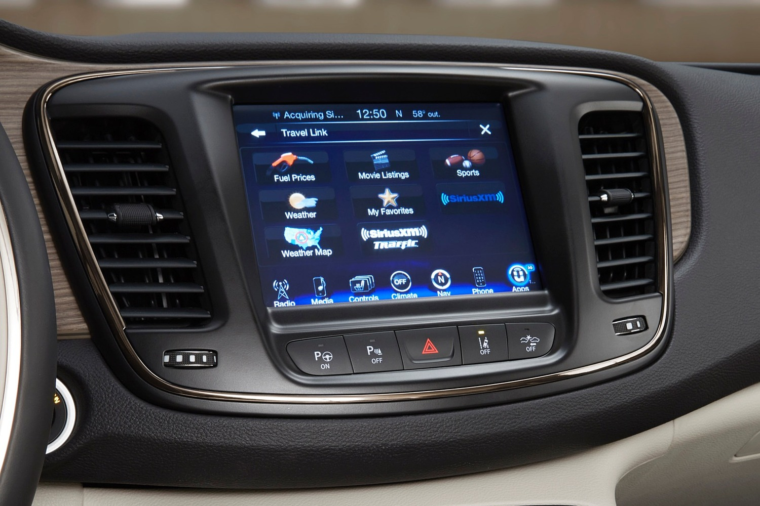 2016 Chrysler 200 C Sedan Center Console Shown