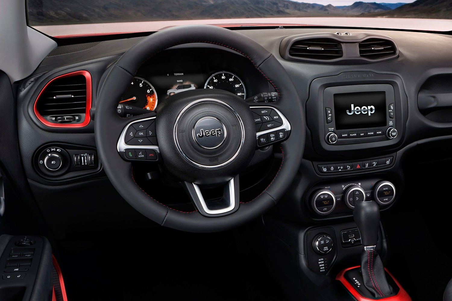 Jeep Renegade Trailhawk 4dr SUV Steering Wheel Detail (2016 model year shown)