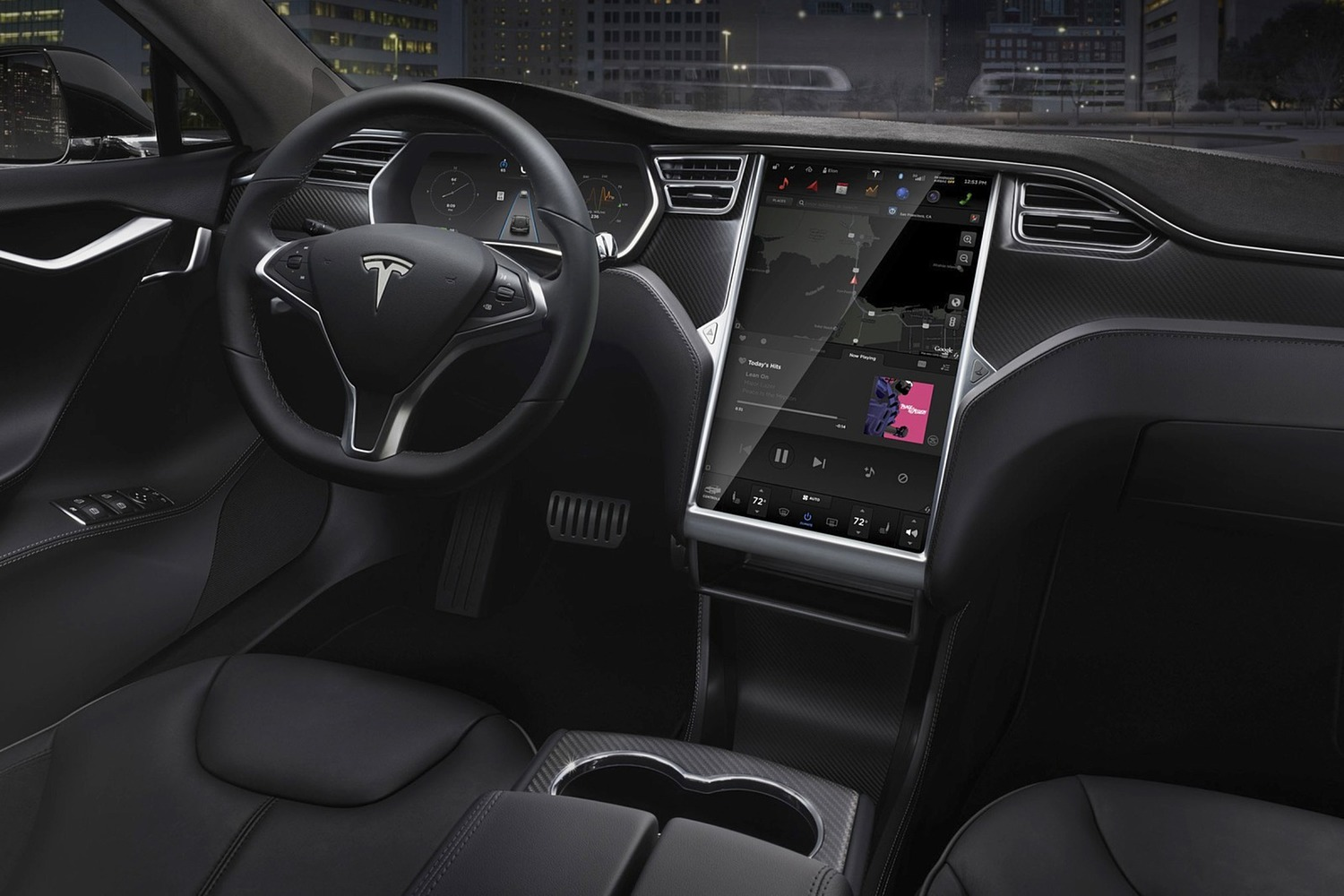 Tesla Model S 90D Sedan Dashboard (2016 model year shown)