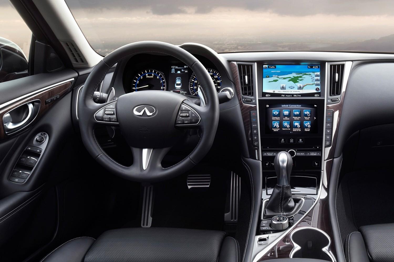 Infiniti Q50 Red Sport 400 Sedan Steering Wheel Detail (2016 model year shown)