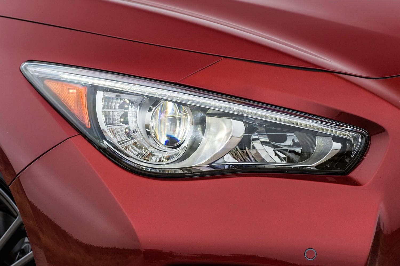 Infiniti Q50 Red Sport 400 Sedan Headlamp Detail (2016 model year shown)