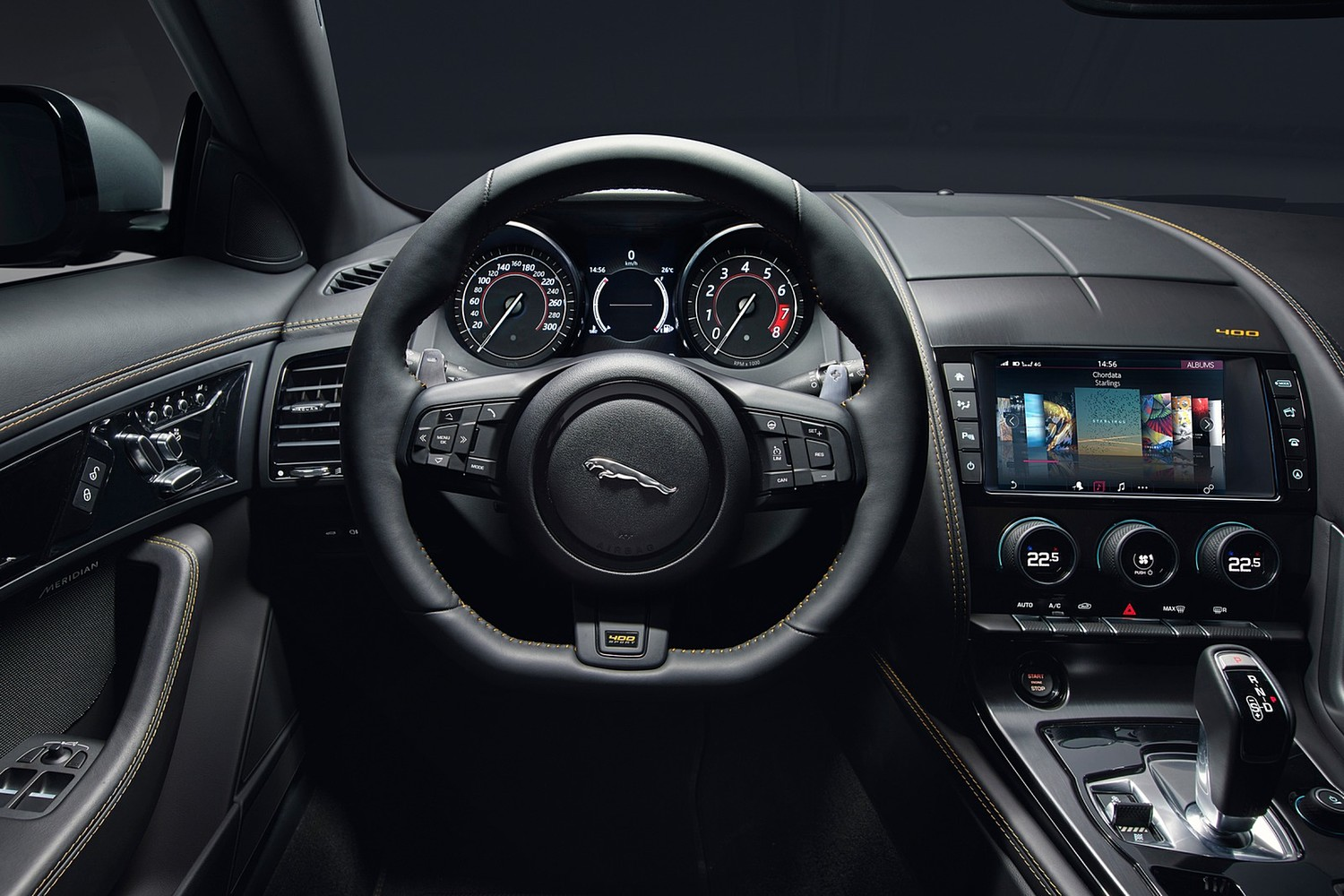 2018 Jaguar F-TYPE 400 Sport Coupe Steering Wheel Detail
