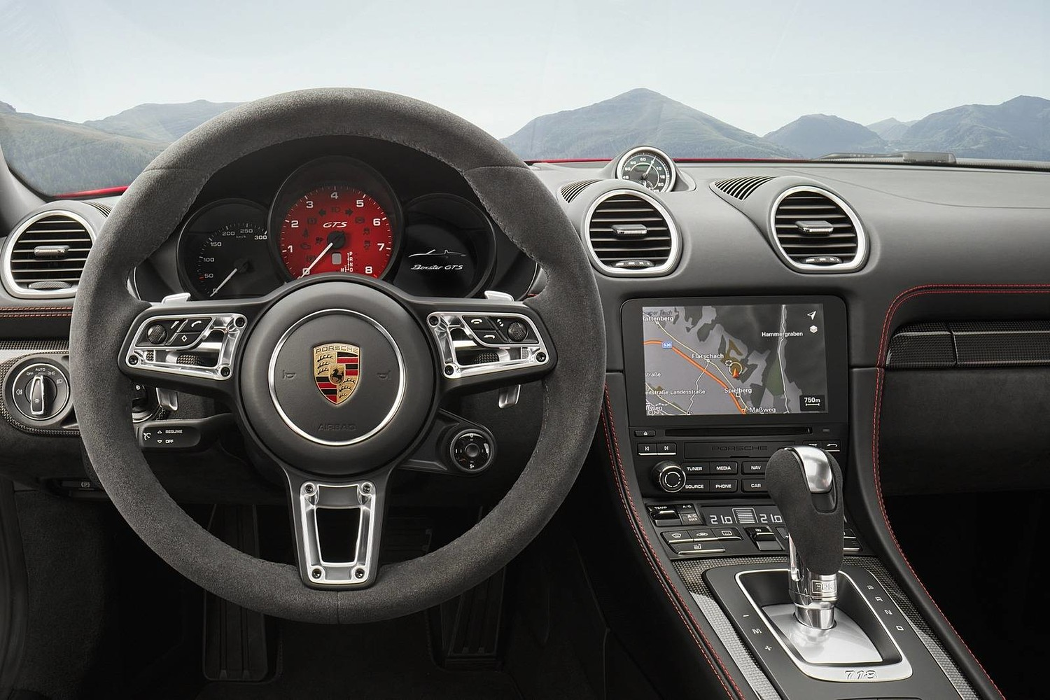 2018 Porsche 718 Cayman GTS Coupe Steering Wheel Detail